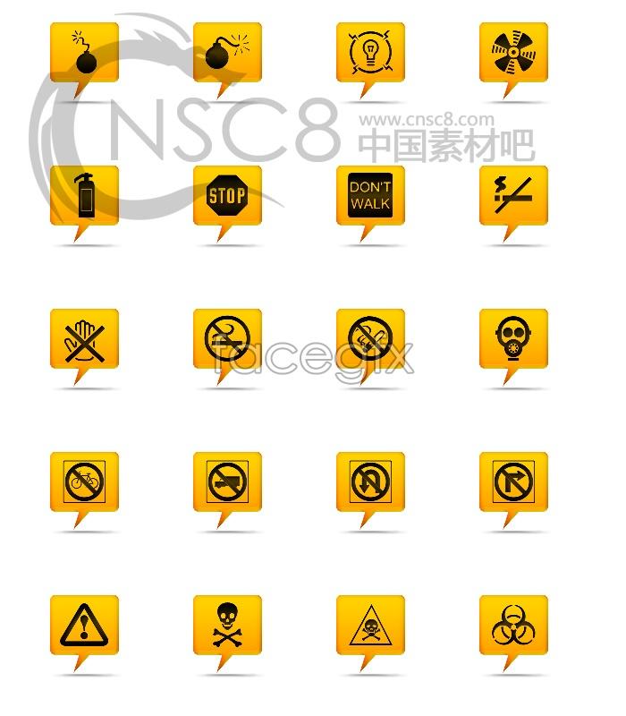 Yellow warning sign icons