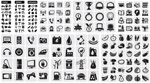 Link toDaily life in black and white icons vector