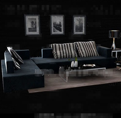 Link toDark blue fabric sofa combination 3d model