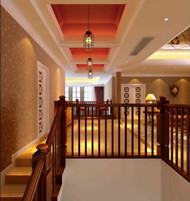 Link toDark color handrails duplex stairs 3d model