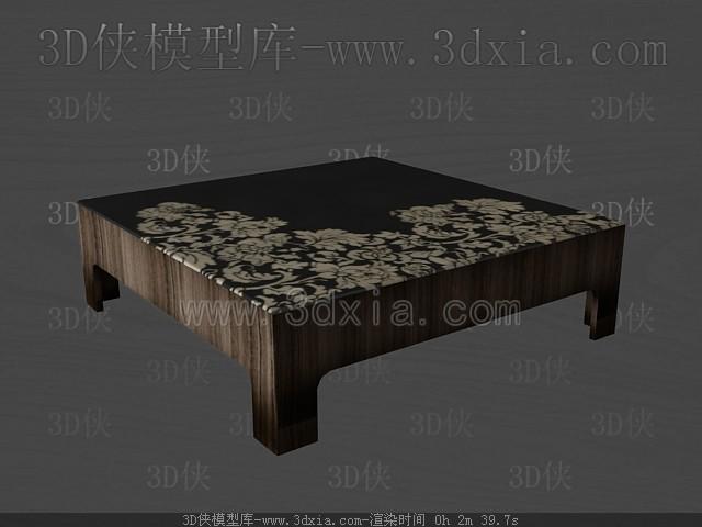 Link toDark color wooden square tea table 3d model