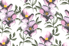 Dark-colored watercolor floral seamless background vector