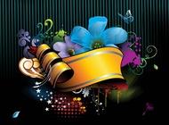 Link toDark floral background template vector free