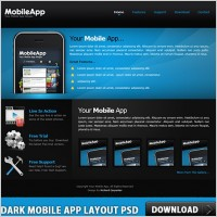 Link toDark mobile app layout free psd