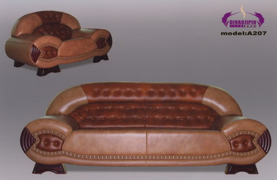 Link toDark red leather sofa 3d model over the boss