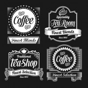 Link toDark style coffee labels vector graphic set 01 free