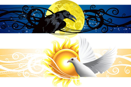 Link toDay and night banner vector
