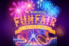 Link toDazzling amusement park fireworks poster vector