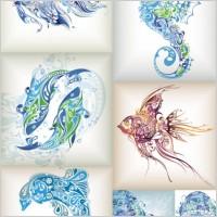 Link toDelicate marine life pattern vector