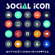 Delicate social icons vector graphics free