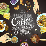 Delicious morning coffee illustrations vector