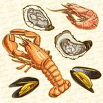Delicious seafood vector