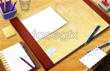 Link toDesk cup notebook notepad pen and paper seal psd