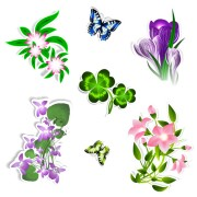 Link toDifferent flower and butterflies vector free