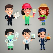 Link toDifferent occupations cartoon characters vector 02 free