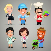 Link toDifferent occupations cartoon characters vector 05 free