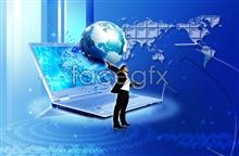 Link toDigital technology notebook world earth characters psd