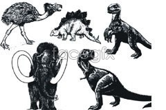 Link tovector sketch animals prehistoric other and Dinosaurs