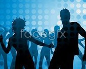 Link toDisco dancing people silhouettes vector