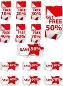 Link toDiscount red and white label vector