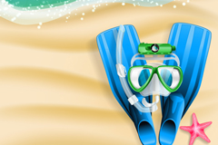 Link toDiving equipment on the beach vector