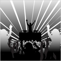 Link toDj and dancing supertype figure silhouette vector