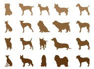 Dog breeds silhouettes vector free
