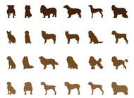 Dog silhouettes set vector free
