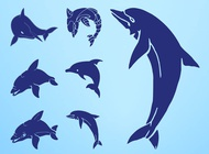 Link toDolphin silhouettes set vector free