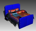 Link toDouble bed design series d: blue ethnic bed 3d model