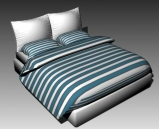 Link toDouble bed design series g green and white striped 3d model