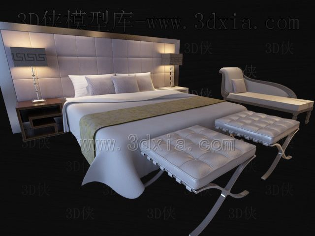 Link toDouble beds with lamps 3d models-1