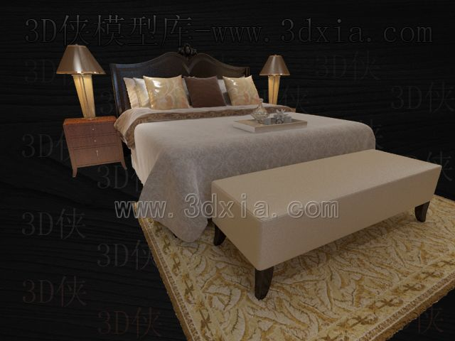 Link toDouble beds with lamps 3d models-13