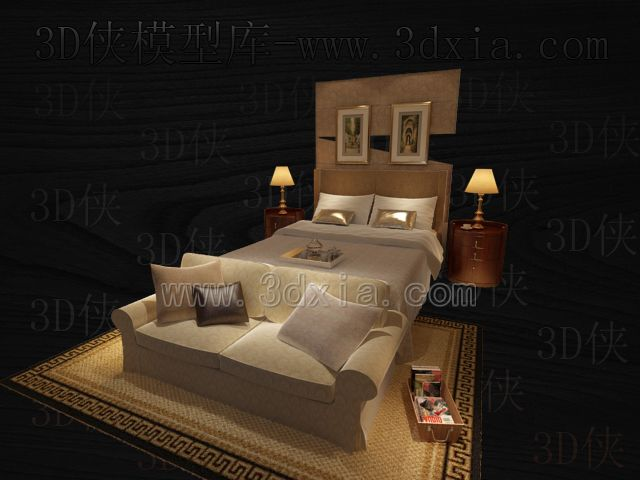 Link toDouble beds with lamps 3d models-14