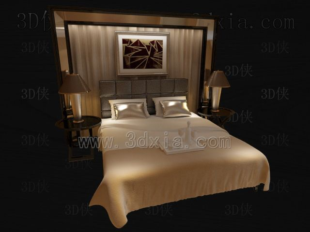 Link toDouble beds with lamps 3d models-3