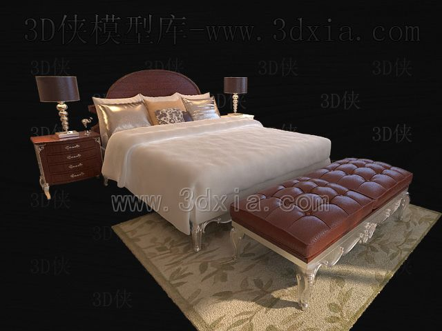 Link toDouble beds with lamps 3d models-4