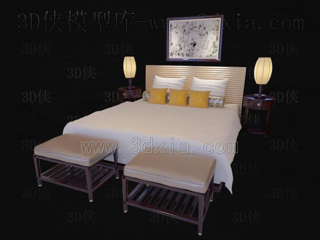 Link toDouble beds with lamps 3d models-6
