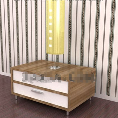 Link toDouble white drawers bedside cabinet 3d model