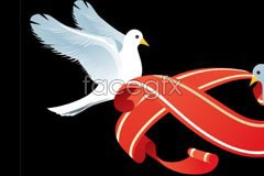 Link toDoves and red ribbon vector