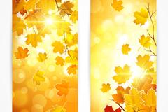 Link toDreamy autumn leaf banner vector