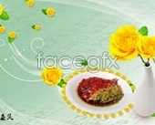 """dual color fish heads"" gourmet dishes flowers templates psd"