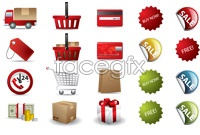 Link toE-commerce web site icons vector graphics