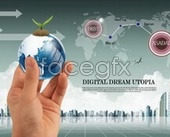 Earth in hand business layering psd