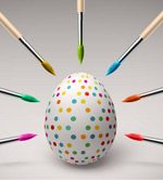 Link toEaster eggs and paintbrushes vector