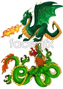 Link toEastern and western dragons illustrations vector