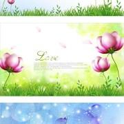 Link toElegant dream flowers background vector 03 free