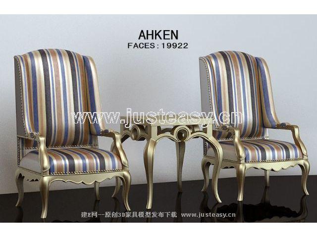 Link toElegant gold chairs monomer 3d model