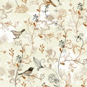 Link toElegant hand drawn birds with flower vector pattern free