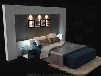 Link toElegant simple blue double bed 3d model
