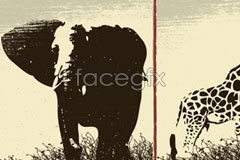 Link tovector wildlife 3 giraffe lion Elephant